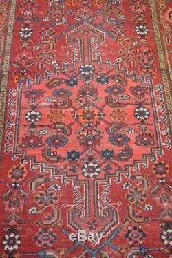 Vintage 4' x 7' Hand-Knotted Persian Zanjan Wool Area Rug Carpet Runner