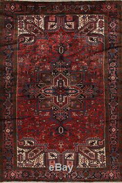 Vintage 8x11 Heriz Persian Area Rugs Geometric Long-Wearing Hand-Knotted Red