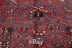Vintage All-Over Pattern Geometric Red Heriz Persian Oriental Wool Area Rug 8x10