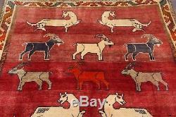 Vintage Animal Pictorial Tribal 5x7 Gabbeh Shiraz Persian Oriental Area Rug Wool