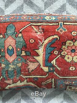 Vintage Antique 19th Century Large Persian Serapi Rug Pillow Hollywood Regency