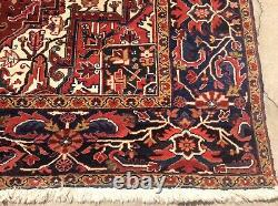 Vintage Authentic Persian Heriz Rug Handknotted Circa 1950 12 X 8 8 Wool
