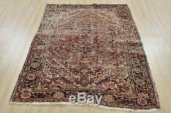 Vintage Distressed Persian Heriz Rug, 4'x6', Red/Black, Hand-Knotted Wool Pile