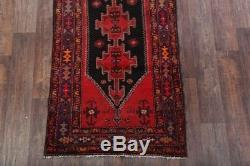 Vintage Geometric Black Runner 4x10 Hamadan Persian Oriental Rug 10' 3 x 3' 8