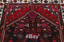 Vintage Geometric Navy Blue Runner 4x13 Hamadan Persian Oriental Rug 12' 6 x 3'6