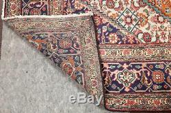 Vintage Geometric ORANGE Ardebil Area Rug Hand-Knotted Living Room Carpet 7x10