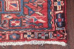 Vintage Geometric Tribal Coral Red Runner Gharajeh Persian Oriental Wool Rug 2x9