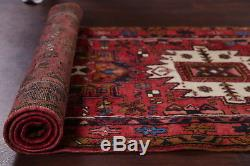 Vintage Geometric Tribal Red Hall-Way Runner Heriz Persian Oriental Rug 3x11 ft