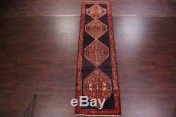 Vintage Geometric Tribal Runner 4x13 Ardebil Persian Oriental Rug 13' 0 x 3' 7