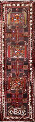 Vintage Geometric Tribal Runner 4x13 Ardebil Persian Oriental Rug 13' 2 x 3' 7