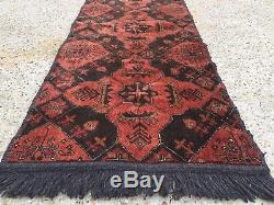 Vintage HANDMADE Khal Mohammadi runner veg dye rug Persian Afghan 155x55 cm