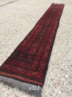 Vintage HANDMADE Khal Mohammadi runner veg dye rug Persian Afghan 195x26 cm
