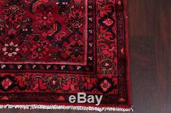 Vintage Hamedan Persian Hand-Knotted 14 ft Red WOOL Runner Rug 13' 10 x 3' 6