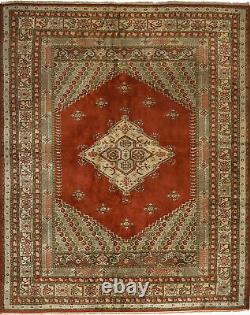 Vintage Hand-Knotted Carpet 6'11 x 8'11 Traditional Oriental Wool Area Rug