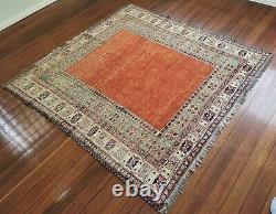 Vintage Handmade Pure Wool Persian Rug Rustic Antique Red Burgundy