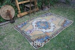 Vintage Hanmade Turkish Oushak Area Rug 75x52, 191x131cm