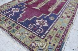 Vintage Hanmade Turkish Oushak Area Rug 87x43, 220x110cm
