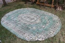 Vintage Hanmade Turkish Oushak Oval Area Rug 112x82