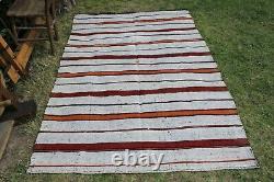 Vintage Hanmade Turkish Oushak Striped Area Kilim Rug 90x55, 230x140cm