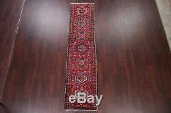 Vintage Heriz Serapi Persian Runner Rug Geometric Tribal Oriental Hand-made 2x9