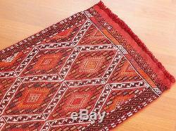 Vintage Konya Red Small Kilim Yastik Rug 1.8x3.2 foot Handmade Cicim Embroidery