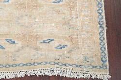 Vintage MUTED Geometric FADED Turkoman Distressed Kitchen Wool Rug Handmade 3x5