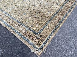 Vintage Mahal Carpet, Beautiful Hand Made Persian Rug (13ft X 9ft) Cleaned