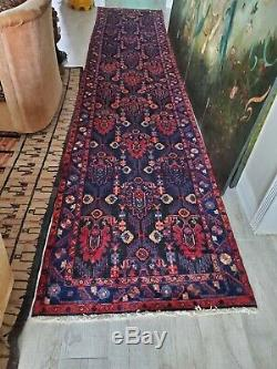 Vintage Malayer Hand-Knotted Persian Runner Rug Navy & Blue Long