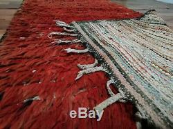 Vintage Morocco Handmade wool rug 3'3x8 Bohemian Berber tribal runner carpet