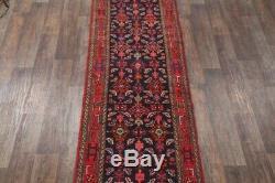 Vintage NAVY Traditional 16 ft LONG Stair Runner Hamadan Oriental Rug Wool 3x16