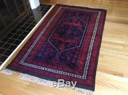 Vintage Oriental/Persian Hand Knotted/Hand Woven wool rug in Red/Navy, 4' x 6