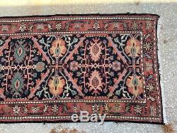 Vintage Oriental Runner Rug 160 X 32 Handmade Carpet Orange Black