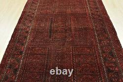 Vintage Persian Balouch Rug, 4'x7', Red/Black, Hand-Knotted Wool Pile