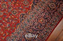 Vintage Persian Classic Floral Design Rug, 10'x14', Red/Blue, All wool pile