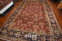 Vintage Persian Floral Design Rug, 9'x12', Wine/Blue, All wool pile