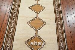 Vintage Persian Gabbeh Design Rug, 3'4''x6'10'', Ivory/Brown, All wool pile