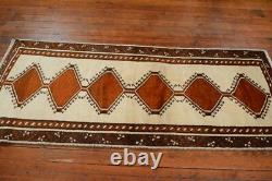 Vintage Persian Gabbeh Design Rug, 3'x7', Ivory/Brown, All wool pile