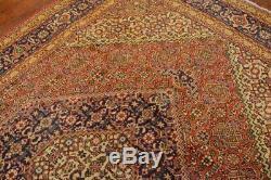 Vintage Persian Geometric Herati Design Rug, 7'x10', Rust/Blue, All wool pile