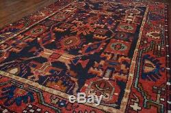 Vintage Persian Hamadan Design Rug, 3'x5', Blue/Red, All wool pile