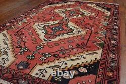 Vintage Persian Hamadan Design Rug, 3'x5', Red/Blue, All wool pile