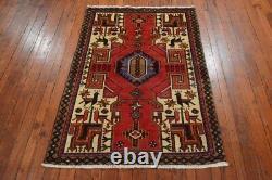 Vintage Persian Hamadan Design Rug, 3'x5', Red/Brown, All wool pile