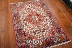 Vintage Persian Hamadan Design Rug, 3' x 5', Ivory/Red, All wool pile