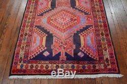 Vintage Persian Hamadan Design Rug, 4'x10', Blue/Beige, All wool pile