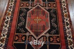 Vintage Persian Hamadan Design Rug, 4'x7', Black/Ivory, All wool pile