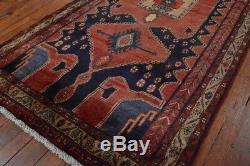 Vintage Persian Hamadan Design Rug, 4'x7', Blue/Brown, All wool pile