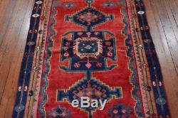Vintage Persian Hamadan Design Rug, 4'x7', Red/Blue, All wool pile