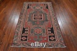 Vintage Persian Hamadan Design Rug, 4'x7', Red/Grey, All wool pile