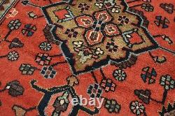 Vintage Persian Hamadan Design Rug, 4' x 10', Red/Blue, All wool pile