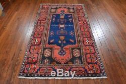 Vintage Persian Hamadan Rug, 4'x7', Blue/Red, All wool pile
