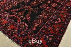 Vintage Persian Hamadan Rug, 5'x7', Black/Red, Hand-Knotted Wool Pile
